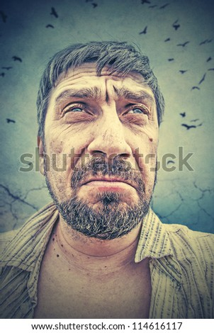 portrait of a man who thinks - stock photo