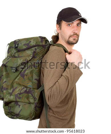 portrait of a man with backpack isolated on white background - stock photo