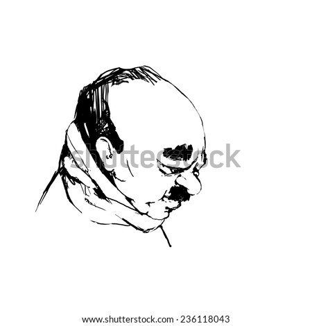 Portrait of a Man with eyes closed. Hippie style, freedom, dream. Freehand drawing black lines on a white background, sketch. Face in profile, a man with a beard, mustache and sideburns - stock photo