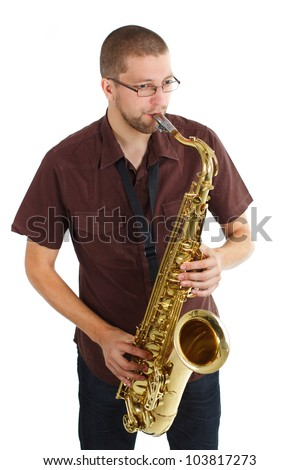 Portrait of a man with glasses, wearing brown shirt, playing the saxophone - isolated on white - stock photo