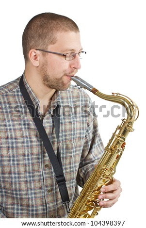 Portrait of a man with glasses, wearing checked shirt, playing the saxophone - isolated on white - stock photo