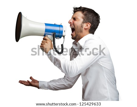 Portrait Of A Man Yelling Into A Megaphone Against White Background - stock photo