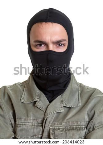 Portrait of a masked burglar - stock photo