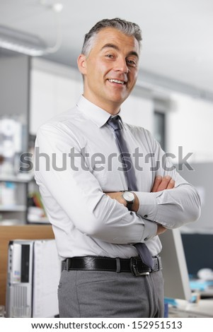 Portrait of a mature business man in office - stock photo