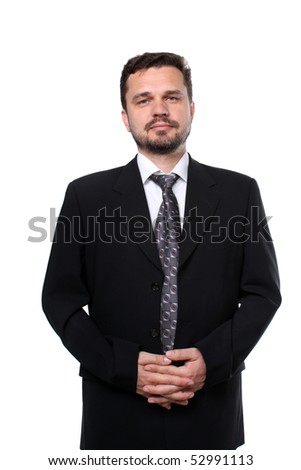 Portrait of a mature caucasian business man on white background - stock photo