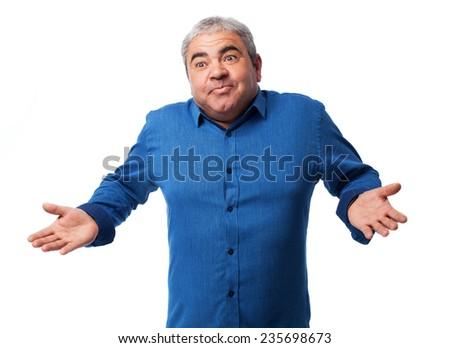 portrait of a mature man having a doubt - stock photo