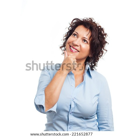 portrait of a mature woman with pensive gesture on a white background - stock photo
