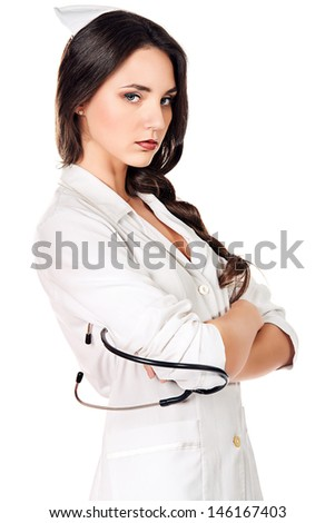 Portrait of a medical employee standing with a stethoscope. Isolated over white. - stock photo