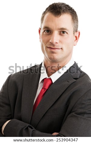 Portrait of a mid 30s businessman wearing suit and tie isolated on a white background - stock photo