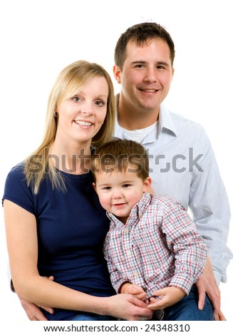 Portrait of a mother and father with their little boy - stock photo