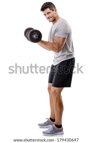 Portrait of a muscular man lifting weights, isolated over a white background - stock photo