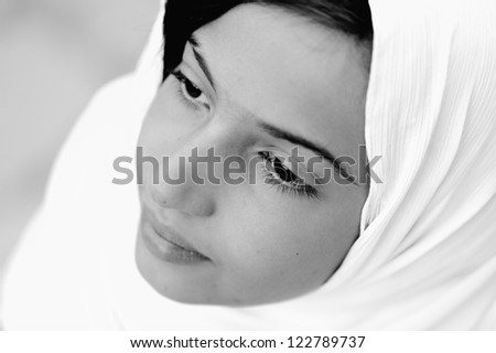 Portrait of a Muslim Arabic girl - stock photo