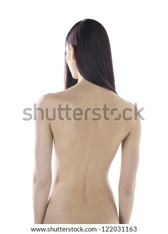 Portrait of a naked woman taken from behind - stock photo