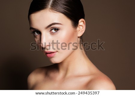 Portrait of a naturally beautiful girl with good foundation that makes skin flawless and perfect - stock photo