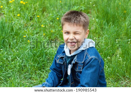 portrait of a naughty boy - stock photo