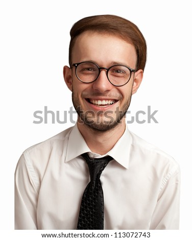 portrait of a nerdy positive businessman isolated on white. - stock photo