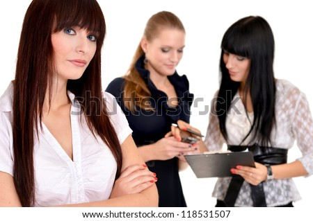 portrait of a nice business women posing on a white - stock photo