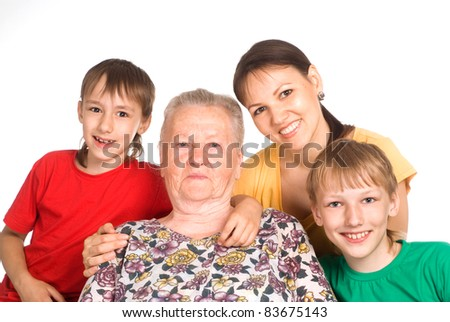 portrait of a nice family of a four - stock photo