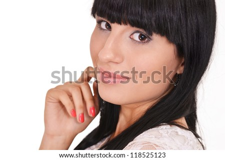 portrait of a nice woman posing on a white background - stock photo