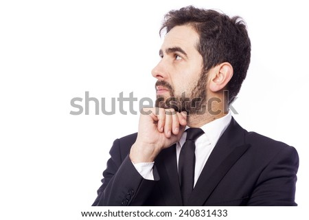 Portrait of a pensive business man, isolated on white background - stock photo