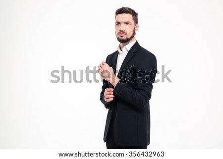 Portrait of a pensive man standing isolated on a white background - stock photo