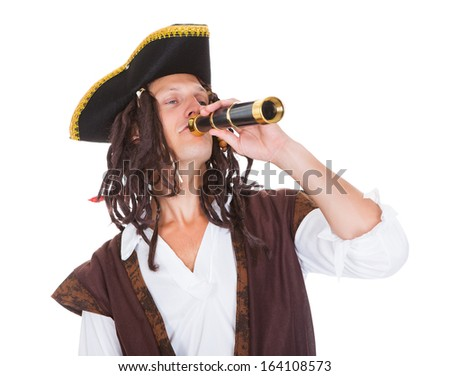Portrait Of A Pirate With Telescope Over White Background - stock photo