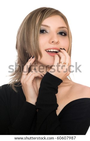 Portrait of a playful young woman. Isolated - stock photo