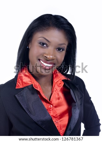 Portrait of a pretty African American businesswoman over white background - stock photo