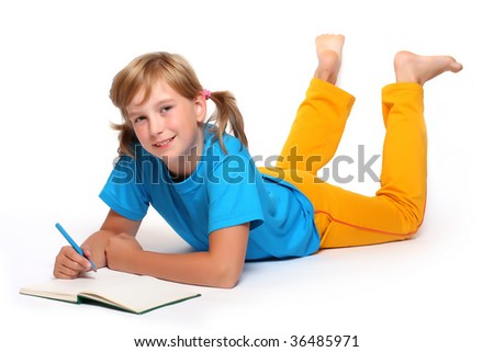 Portrait of a pretty girl with opened book. - stock photo