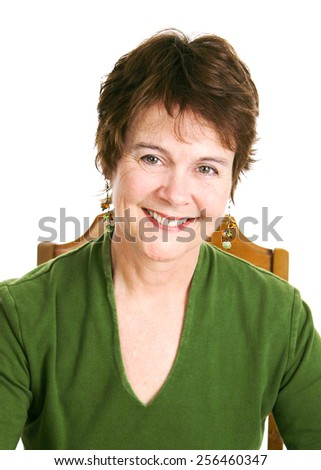 Portrait of a pretty, middle-aged Irish woman.  White background.   - stock photo