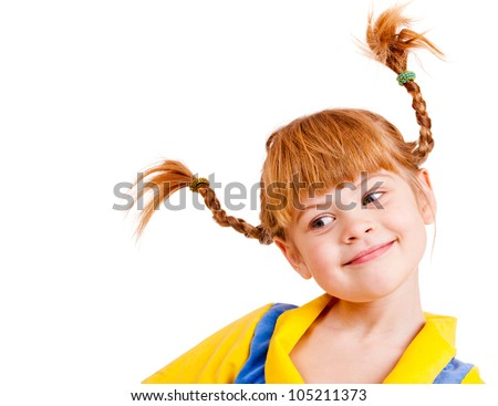 Portrait of a pretty red-haired little girl - stock photo