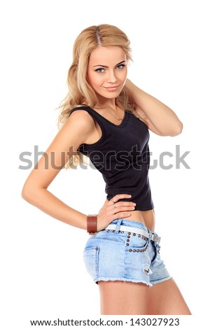 Portrait of a pretty smiling young woman. Isolated over white. - stock photo