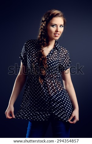 Portrait of a pretty teen girl smiling at camera. Make-up, cosmetics. Beauty, fashion.  - stock photo