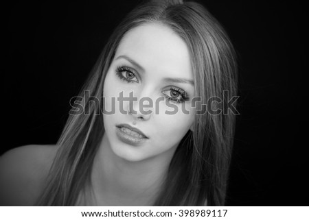 Portrait of a pretty woman in black and white / Woman - stock photo
