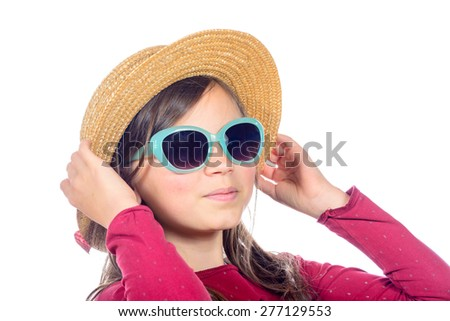portrait of a pretty young girl with hat and sunglasses - stock photo