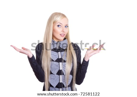 Portrait of a pretty young woman gesturing do not know sign against white background - stock photo