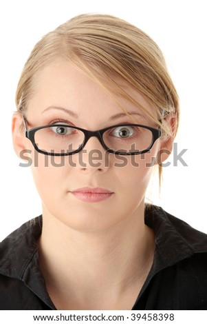 Portrait of a pretty young woman in glasses. Education or business concept. Isolated - stock photo