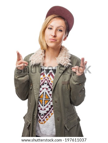 portrait of a pretty young woman wearing urban clothes on a white background - stock photo