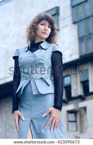 Portrait of a professional business woman outdoor. Business woman, business woman, business woman, business woman, business woman, business woman, business woman, business woman, business woman - stock photo