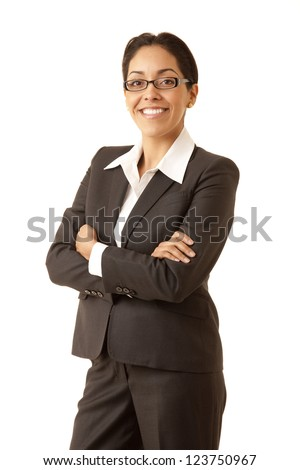 Portrait of a professional Hispanic business woman wearing a grey suit looking at camera isolated on white - stock photo