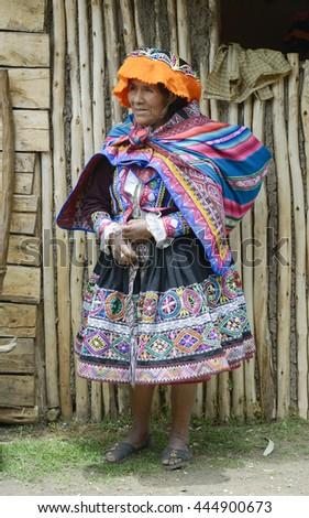 Portrait of a Quechua Indian woman from the Paru Paru Community, Andes Mountains. October 22, 2012 - Paru Paru, Peru - stock photo