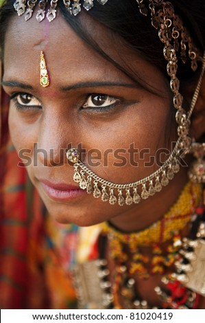 Portrait of a Rajasthan woman - stock photo