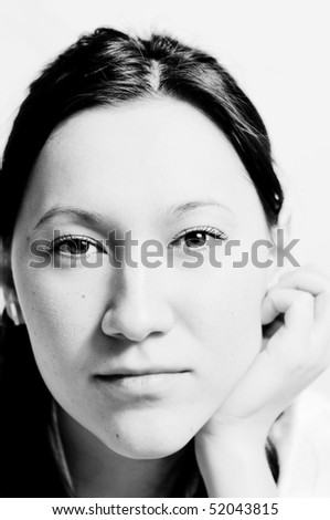 Portrait of a real young woman - stock photo