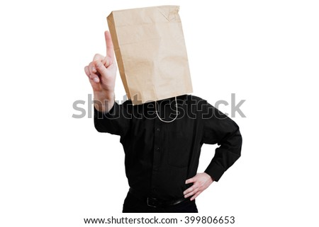 Portrait of a red-bearded, balding male brutal. White isolated background. Black shirt and pants. Paper bag over head, wag threatens finger - stock photo
