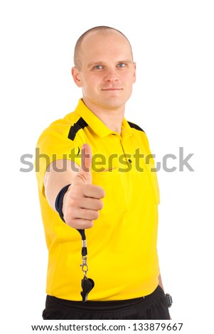 Portrait of a referee thumbs up - stock photo