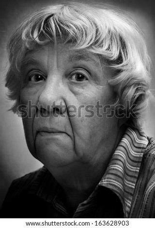 Portrait of a sad woman. Real people series - stock photo