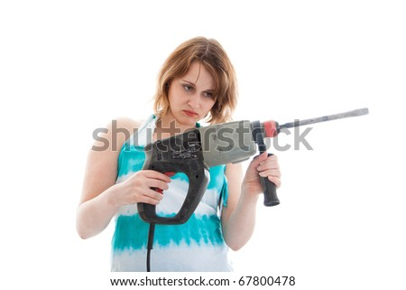 portrait of a sad young woman with a perforator - stock photo