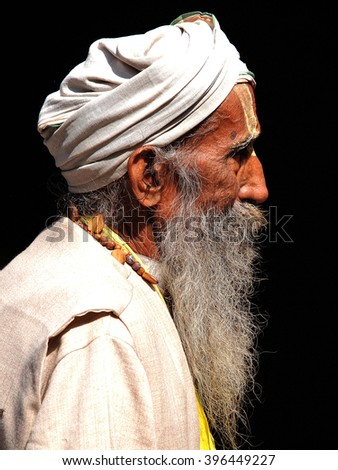 portrait of a sadhu, holly man         - stock photo