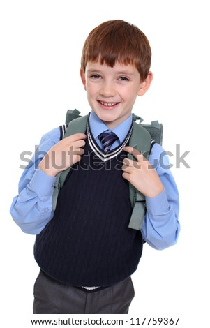 portrait of a schoolboy isolated on white background - stock photo