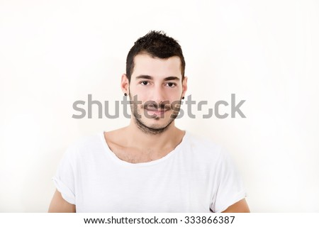 Portrait of a self confident man in casual cloth. - stock photo